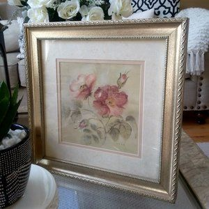 "BEAUTIFUL Matted & FRAMED ""Cheri Blum"" ROSES PRINT"